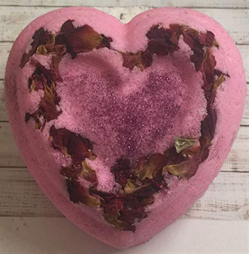Beauty Heart Pink Bath Bomb- Foamy- Fizzy- Organic Almond Oil-Jojoba oil-Goat Milk- Beautiful -Gift-Rose Petals- Love- 5oz- (Foamies Heart)