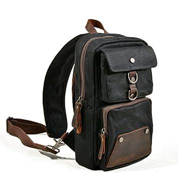 Peacechaos Waterproof Waxed Canvas Hiking Sling Bag Men Outdoor Chest Bags Sport Gym Crossbody Bag Black