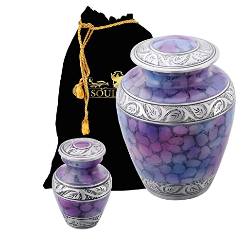 Funeral Urn by SoulUrns - Rainbow Purple Finish Cremation Urn With Identical Keepsake Urns for Human Ashes - Display Burial Urn at Home - Combo (Rainbow Urn)