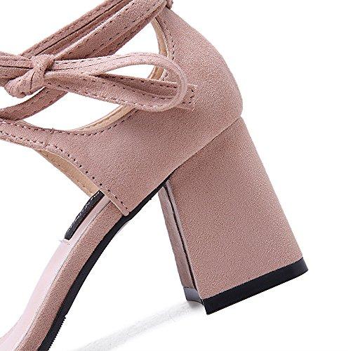 LIVY 2017 verano nueva grueso con zapatos de tacón alto del ante redonda sandalias abiertas zapatos de las mujeres hueco Sra. Rosado