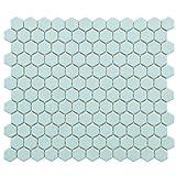 SomerTile FXLM1HML Retro Hex Matte Porcelain Floor and Wall Tile, 10.25'' x 11.75'', Light Blue
