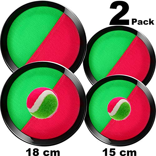 TOODOO 2 Set Paddle Toss and Catch Ball Include 4 Paddles and 2 Balls, Throw and Catch Game, for Sports, Beach, Birthday Gifts, Game Prizes, Party Favor and - Throw Ball Game