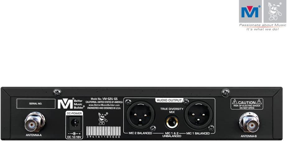 Better Music Builder VM-52U G5 Dual Channel UHF Wireless Microphone System