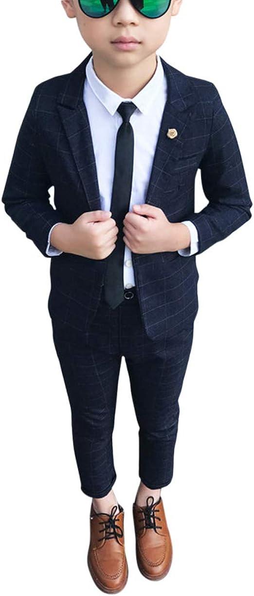 LOLANTA 2-teiliges Jungen festlichen Anzug Set Grau Plaid Kinder Blazer /& Hosen Outfit Freizeitkleidung oder Hochzeitskleid