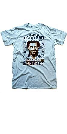 032a9bf9 Pablo Escobar Medellin Cartel Colombia T-Shirt EL Patron In Color (Small,  Blue