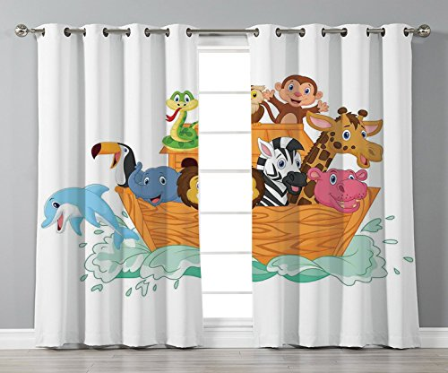 (Satin Grommet Window Curtains,Religious,Fun Animals in the Ark Floating Myth Creatures Grace Nature Illustration Art Decorative,Multicolor,2 Panel Set Window Drapes,for Living Room Bedroom Kitchen Caf)