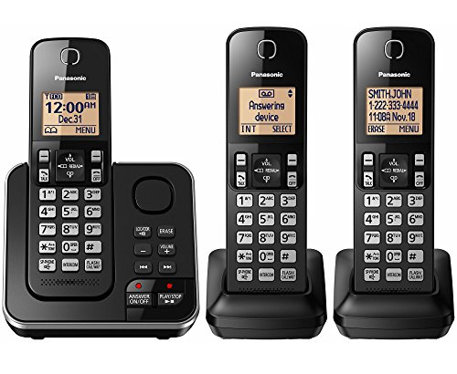 Panasonic Digital Telephone (PANASONIC KX-TG633SK 6.0 PLUS 3-Handset Expandable Digital Cordless Phone with Answering System)