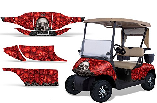 1996-2010 EZGO Golf Cart AMRRACING ATV Graphics Decal Kit-Bone (Club Red Bone Collector)