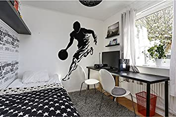 Superbe Wall Decal Sticker Bedroom Basketball Player Flame Sport Boys Teenager Room  211b