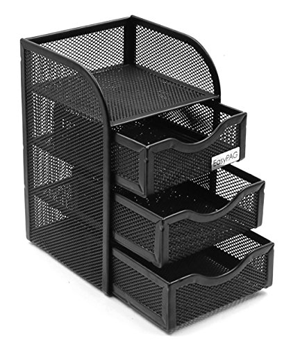 EasyPAG Mesh Desk Organizer Supply Caddy with 3 Accessories Drawer,Black ()