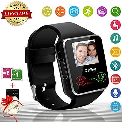 Smart Watch,Bluetooth Smartwatch Touchscreen with Camera, Smart Watches Waterproof Smart Wrist Watch Phone Compatible Android for Men Women Kids (X-Black)