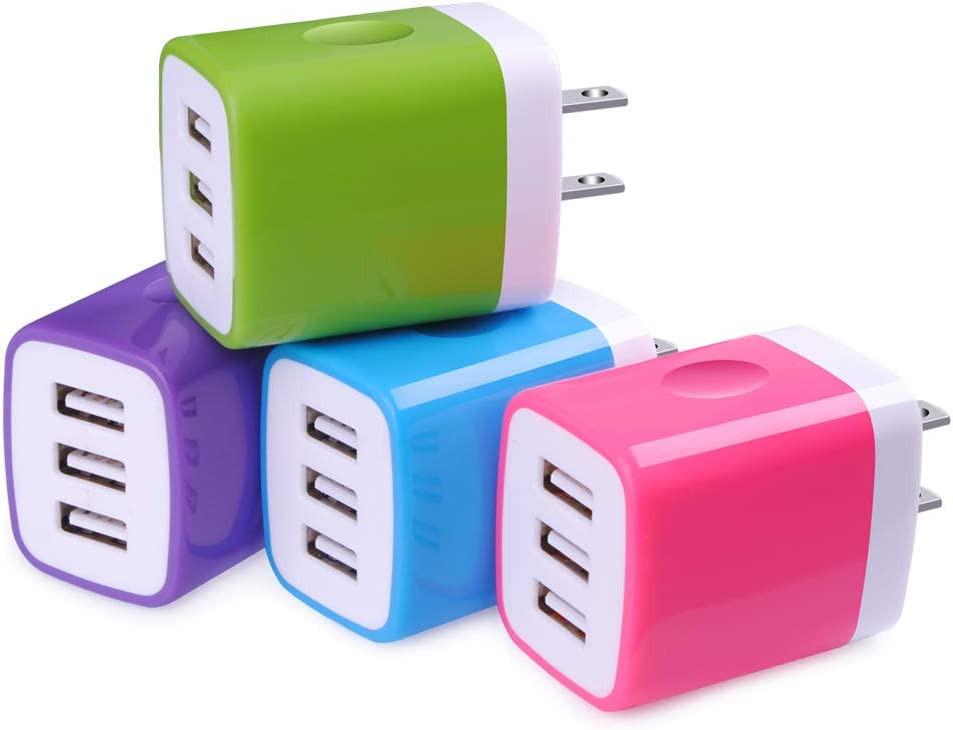 Charging Block,Wall Charger,Sicodo 4-Pack 3.1A USB Wall Travel Plug Charger Cube for iPhone 8,7 Plus,6 Plus,6s Plus,Tablet,Samsung Galaxy S9,S8 Plus,S6 S7 Edge,HTC,Nokia,BlackBerry, LG,Sony