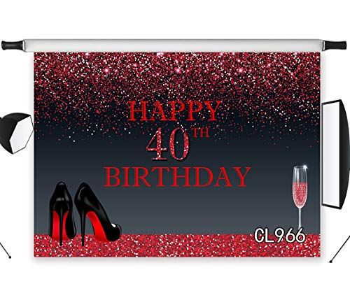 LB Birthday Party Backdrop 9x6ft Fabric Black High Heels Red Glitter Background for Lady 40th Birthday Party Event Portrait Photo Booth Props,Washable ()