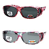 2 Pair Polarized Fit Over Oval Rectangular Sunglasses -8866JP2-Light Red/Floral