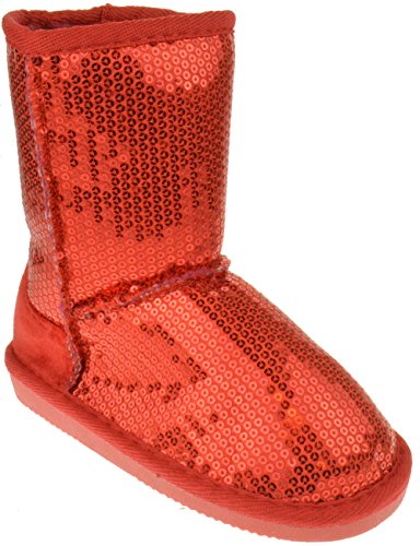 Pom-016KM Little Girls Sequin Slip On Shearling Boots Red 4 ()