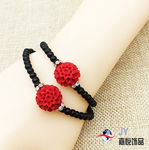 carved cinnabar lacquer red hibiscus flower bracelets female twice double ring bracelet national wind characteristics gifts factory direct