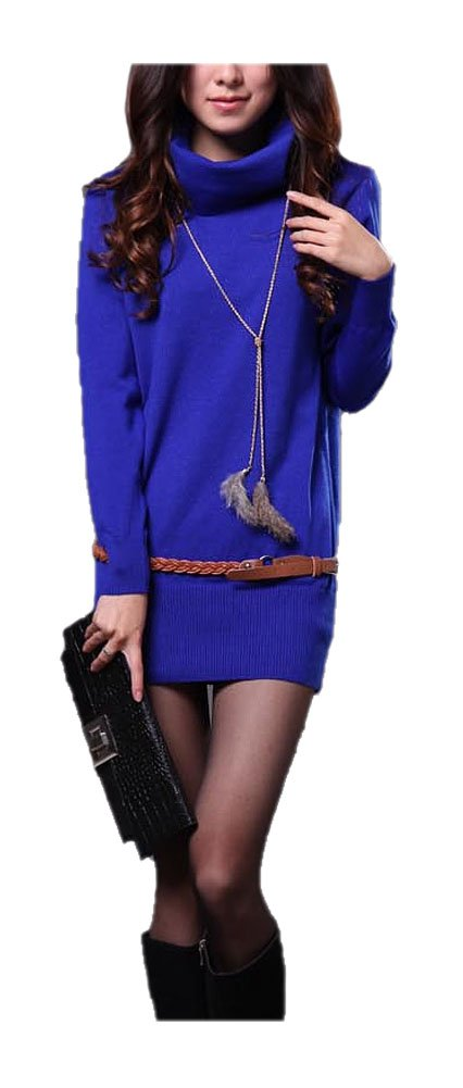 ARJOSA Womens Knitted Long Sleeve Seamless Pullovers Turtleneck Sweater Top (#6 Royal Blue)