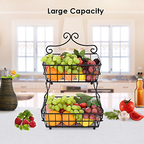 Oakome 2 Tier Fruit Baskets - Metal Bread Basket Stand with Free Screws for Fruit, Vegetables, Snacks, Home Kitchen and Office by oakome (Image #3)