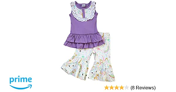e6dfc0c8e033 Amazon.com: Toddler & Girl 2 Pieces Pant Set Unicorn Dress Ruffle Pants  Outfit Pant Set 2T-8: Clothing