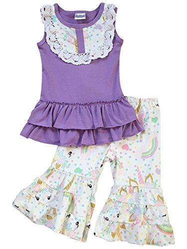 BluNight Collection Little Girls 2 Pieces Pant Set Unicorn Dress Ruffle Outfit Clothing Set Lilac 6 XL (Capri Outfit Set)