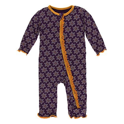 Kickee Pants Little Girls Print Muffin Ruffle Coverall with Zipper - Wine Grapes Saffron, 12-18 Months