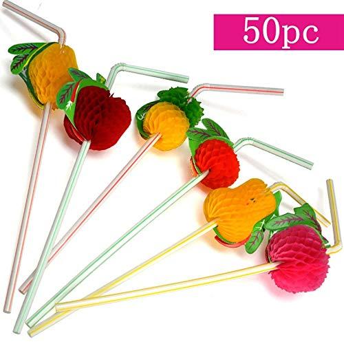 Chenyu cannuccia 50/pz assortiti cocktail 3D frutta cannucce usa e getta cannuccia per party//barbecue//per feste a tema hawaiano