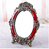 LQQFF Vintage makeup mirror, Princess mirror, high-definition double-sided European mirror (Size : 7 Inches)