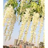 April 3.4 Ft Realistic Romantic Classic Artificial Fake Wisteria Vine Ratta Silk Flowers for Garden Floral Decoration