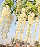 3.4 Ft Realistic Romantic Classic Artificial Fake Wisteria Vine Ratta Silk Flowers for Garden Floral Decoration DIY Living Room Hanging Flower Plant Vine Home Party Wedding Simulation Decor - White, 12 Pcs