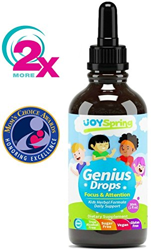 Focus Supplement for Kids, Supports Healthy Brain Function to Improve Concentration & Attention for School, Natural Calming Supplement, Great Tasting Liquid Vitamins, 2 oz (Natural Vitamins Supplements)