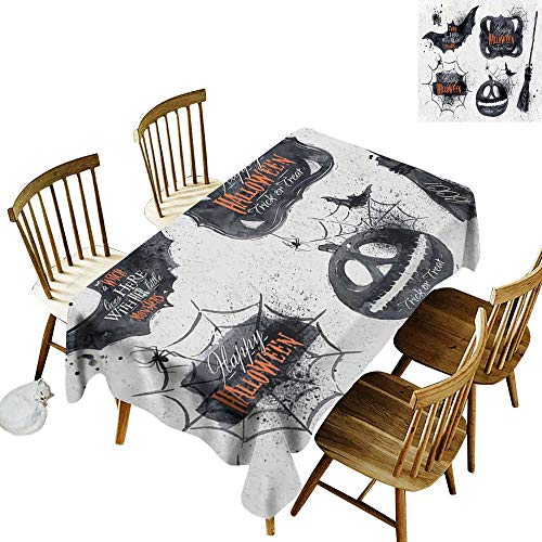 (kangkaishi Vintage Halloween 3D Printed Long Tablecloth Desktop Protection pad Halloween Symbols Happy Holiday Witch Lives Here Broomstick Spider Web W54 x L108 Inch Black White)