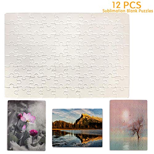Puzzle 80-Pieces (12-Pack) Sublimation Blank Puzzles DIY Blank Jigsaw Puzzles, 9.4