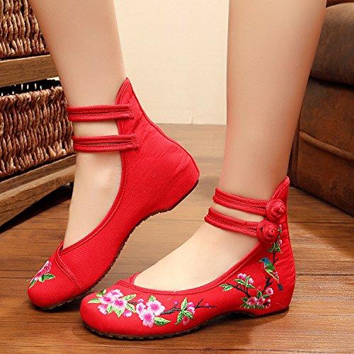 WXT Zapatos bordados finos, lino, lenguado del tendón, estilo étnico, zapatos femeninos, manera, cómodo, zapatos de lona Red