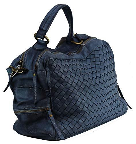 de al mujer hombro Large 0043 para BZNA Cuero B065 Bolso Azul azul qgxXBwAf