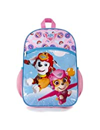 """Paw Patrol Girls Pink 15"""" Light Weight School Backpack Featuring Skye and Marshal"""