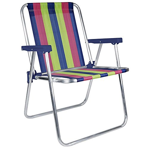 MOR Aluminum Beach Chair - 1 Position - (Pack of 1) - (Blue, Pink & Green Stripe)