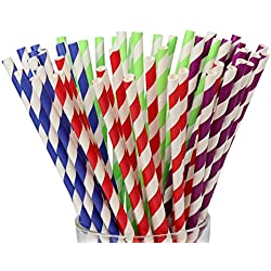 200 Count Biodegradable Paper Straws,4 Colors,Box package