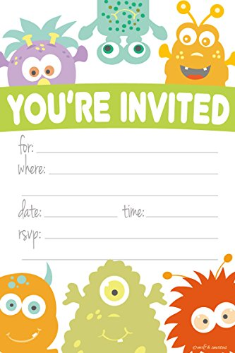Monster Themed Party Invitations - Fill In Style (20 Count) With Envelopes by m&h (First Birthday Halloween Party Invitations)