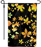 Rikki Knight Fall Leaves Design Garden Flag Sturdy Black Wrought Iron Flag Pole (Proudly Printed in The USA)