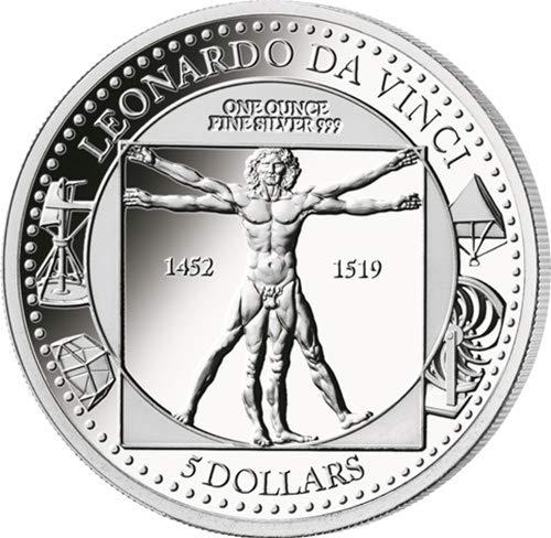 2019 SB Modern Commemorative PowerCoin LEONARDO DA VINCI 500th Anniversary 1 Oz Silver Coin 5$ Solomon Islands 2019 Proof