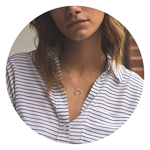 Goddess 14k Necklace (Befettly Womens Dainty Gold Double Horn Necklace in 14k Gold Fill Upside Down Moon Layered Necklace-Moon-L)