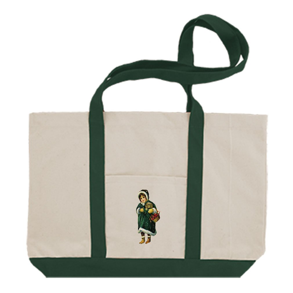Canvas Boat Tote Bag Girl Green Coat Holding Puppy Christmas By Style In Print | Green