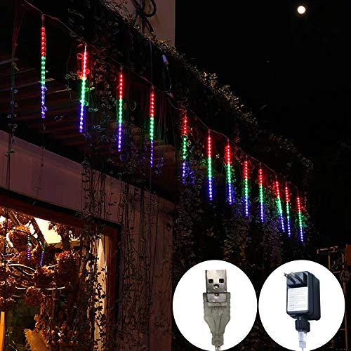 Meteor Lights, 8 Tube 144 LED Falling Rain Drop Meteor Light, Waterproof Cascading Lights for Holiday Party Wedding Christmas Tree Decoration (Multicolor)