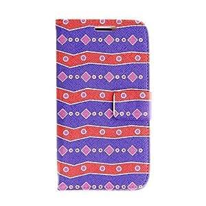 GDW Patrón Kinston azul perlas rojo y cuero de la PU del caso del cuerpo completo para Samsung Galaxy S3 I9300
