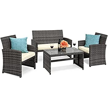 Best Choice Products 4 Piece Wicker Patio Furniture Set W/Tempered Glass, 3  Sofas, Table, Cushioned Seats   Gray