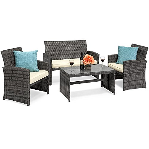 Patio Furniture Gray (Best Choice Products 4-Piece Wicker Patio Furniture Set w/Tempered Glass, 3 Sofas, Table, Cushioned Seats - Gray)