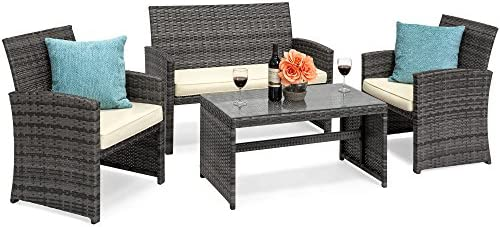 picture of Best Choice Products 4-Piece Wicker Patio Furniture Set w