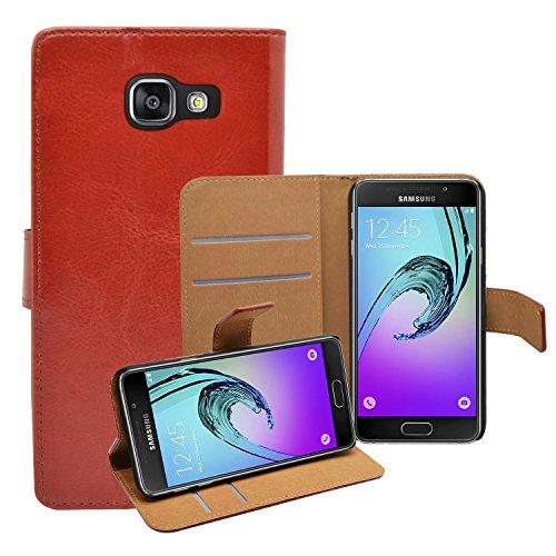 Membrane Funda Samsung Galaxy A3 (2016) Carcasa Negro Cartera Wallet Case Flip Cover Marron