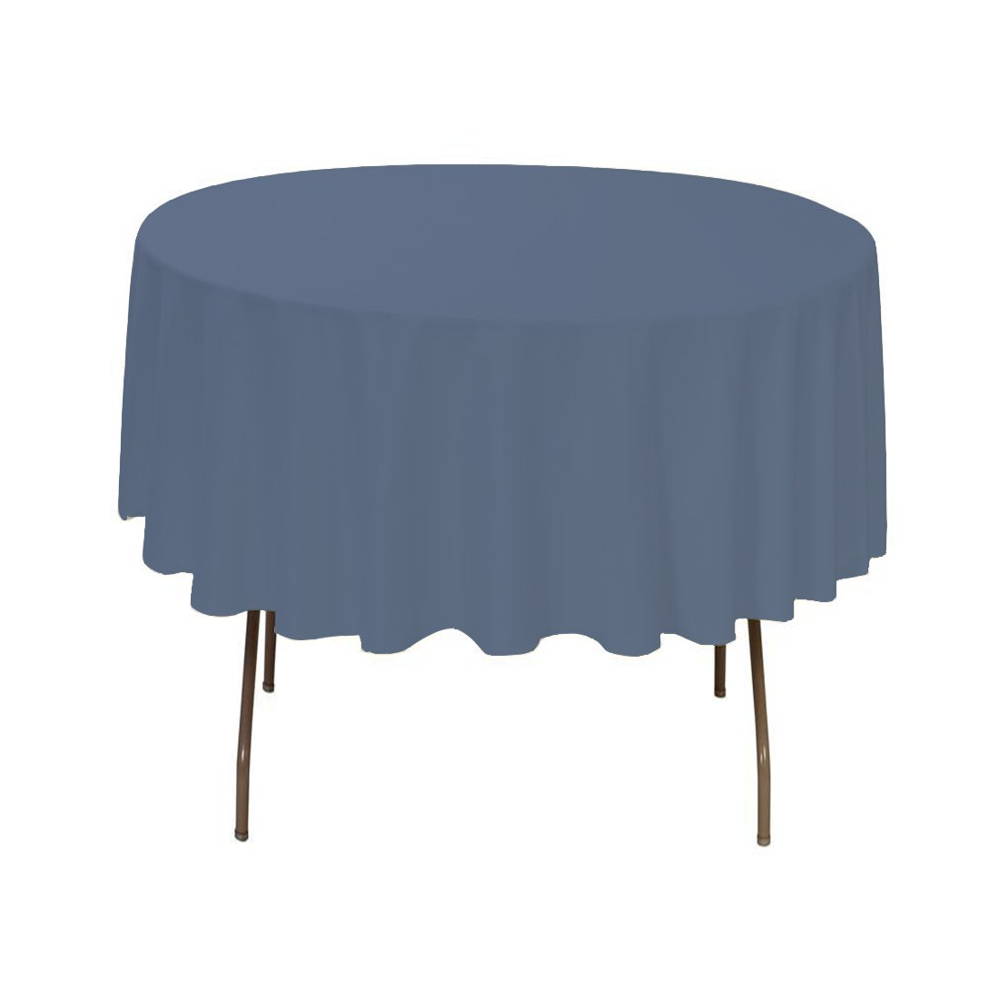 BROWARD LINENS Small Tablecloth Polyester Round 36 Inch Steel Blue By