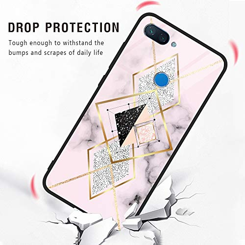 Eouine Xiaomi Mi 8 Lite Case, [Anti-Scratch] Shockproof Patterned Tempered Glass Back Cover Case with Soft Silicone Bumper for Xiaomi Mi 8 Lite Smartphone (Marble Pink)